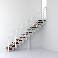 Escalier droit métal et bois Magia 90Xtra l.90 cm 14 marches blanc/cerisier