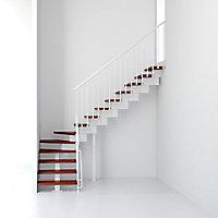 Escalier en L métal et bois Magia 90 l.70 cm 11 marches blanc/cerisier