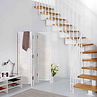 Escalier en L métal et bois Magia 90 l.70 cm 11 marches blanc/clair
