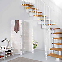 Escalier en L métal et bois Magia 90 l.70 cm 12 marches blanc/clair