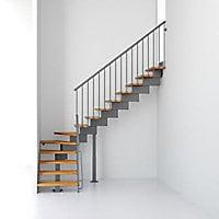 Escalier en L métal et bois Magia 90 l.70 cm 12 marches gris fonte/clair