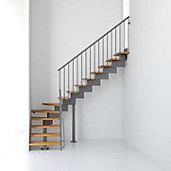 Escalier en L métal et bois Magia 90 l.70 cm 14 marches gris fonte/clair