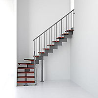 Escalier en L métal et bois Magia 90 l.80 cm 10 marches gris fonte/cerisier