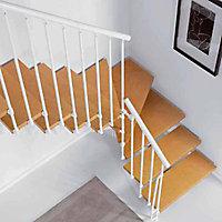 Escalier en L métal et bois Magia 90 l.80 cm 12 marches blanc/clair