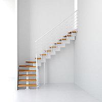 Escalier en L métal et bois Magia 90Xtra l.80 cm 14 marches blanc/clair