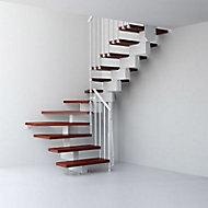 Escalier en U métal et bois Magia 90 l.70 cm 10 marches gris blanc/cerisier