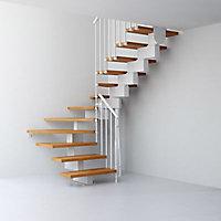 Escalier en U métal et bois Magia 90 l.70 cm 12 marches blanc/clair