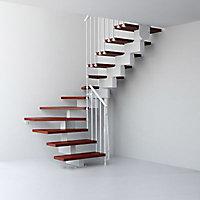 Escalier en U métal et bois Magia 90 l.70 cm 14 marches blanc/cerisier