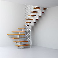 Escalier en U métal et bois Magia 90Xtra l.70 cm 12 marches blanc/clair