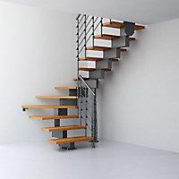 Escalier en U métal et bois Magia 90Xtra l.80 cm 14 marches gris fonte/clair