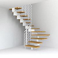 Escalier en U métal et bois Magia 90Xtra l.90 cm 12 marches blanc/chêne