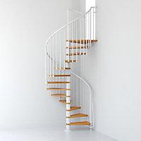 Escalier métal et bois Magia 70 Ø130 cm 12 marches + palier blanc/clair