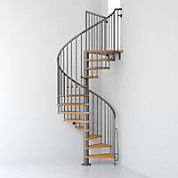 Escalier métal et bois Magia 70 Ø130 cm 12 marches + palier gris fonte/clair
