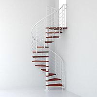 Escalier métal et bois Magia 70Xtra Ø110 cm 12 marches + palier blanc/cerisier