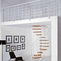 Escalier métal et bois Magia 70Xtra Ø130 cm 13 marches blanc/clair