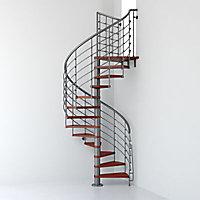 Escalier métal et bois Magia 70Xtra Ø150 cm 10 marches + palier gris fonte/cerisier