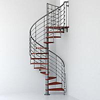 Escalier métal et bois Magia 70xtra Ø150 cm 12 marches + palier fonte/cerisier