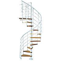 Escalier métal et bois Magia 70xtra Ø150 cm 13 marches blanc/clair