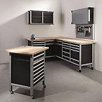 Etabli d'atelier Wolfcraft 161 cm 3 tiroirs + 3 portes