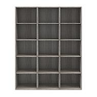 Etagère bibliothèque effet chêne grisé H. 187,5 x L. 150 x P. 35 cm