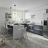 Façade de cuisine 1 tiroir et 2 casseroliers GoodHome Artemisia Blanc l. 49.7 cm x H. 71.5 cm