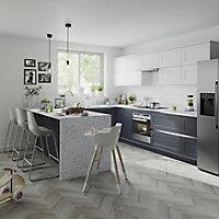 Façade de cuisine 1 tiroir et 2 casseroliers GoodHome Artemisia Graphite l. 49.7 cm x H. 71.5 cm