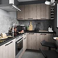 Façade de cuisine 1 tiroir et 2 casseroliers GoodHome Chia chêne grisé l. 49.7 cm x H. 71.5 cm