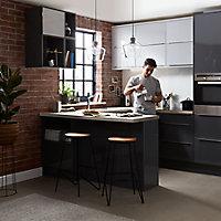 Façade de cuisine 1 tiroir et 2 casseroliers GoodHome Stevia Anthracite l. 49.7 cm x H. 71.5 cm