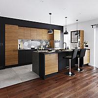 Façade de cuisine 3 tiroirs et 1 casserolier GoodHome Pasilla Noir l. 39.7 cm x H. 71.5 cm
