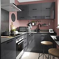 Façade de cuisine 3 tiroirs et 1 casserolier GoodHome Stevia Anthracite l. 39.7 cm x H. 71.5 cm