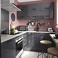 Façade de cuisine pour caisson hotte / casserolier GoodHome Stevia Anthracite l. 39.7 cm x H. 35.6 cm