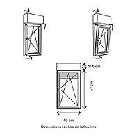 Fenêtre alu 1 vantail oscillo-battant + volet roulant électrique GoodHome gris - l.40 x h.65 cm, tirant droit