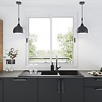 Fenêtre alu 2 vantaux coulissant GoodHome blanc - l.100 x h.100 cm