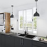 Fenêtre alu 2 vantaux coulissant GoodHome blanc - l.120 x h.120 cm