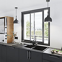 Fenêtre alu 2 vantaux coulissant GoodHome gris - l.100 x h.100 cm