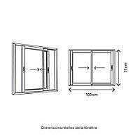 Fenêtre alu 2 vantaux coulissant GoodHome gris - l.100 x h.75 cm