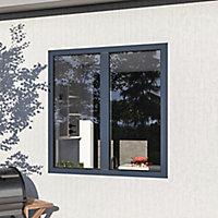 Fenêtre alu 2 vantaux oscillo-battant GoodHome gris - l.100 x h.115 cm