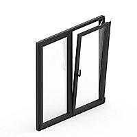 Fenêtre alu 2 vantaux oscillo-battant GoodHome gris - l.100 x h.145 cm
