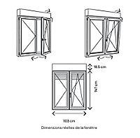 Fenêtre alu 2 vantaux oscillo-battant + volet roulant électrique GoodHome gris - l.100 x h.145 cm