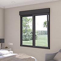 Fenêtre alu 2 vantaux oscillo-battant + volet roulant électrique GoodHome gris - l.100 x h.95 cm