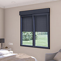 Fenêtre alu 2 vantaux oscillo-battant + volet roulant électrique GoodHome gris - l.120 x h.75 cm