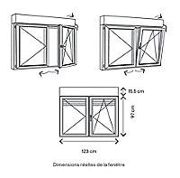 Fenêtre alu 2 vantaux oscillo-battant + volet roulant électrique GoodHome gris - l.120 x h.95 cm