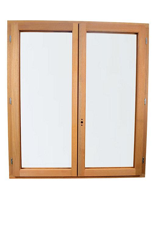fenêtre bois 2 vantaux goodhome  l120 x h115 cm tirant