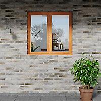 Fenêtre bois 2 vantaux GoodHome - l.140 x h.135 cm, tirant droit
