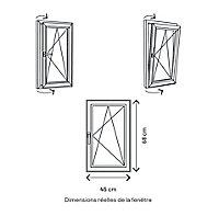Fenêtre PVC 1 vantail oscillo-battant GoodHome blanc - l.40 x h.65 cm, tirant droit