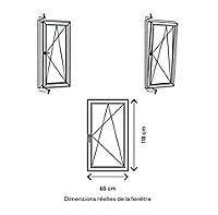 Fenêtre PVC 1 vantail oscillo-battant GoodHome gris - l.60 x h.115 cm, tirant droit