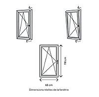 Fenêtre PVC 1 vantail oscillo-battant GoodHome gris - l.60 x h.115 cm, tirant gauche
