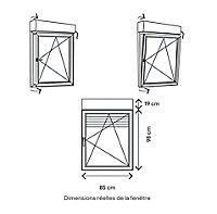 Fenêtre PVC 1 vantail oscillo-battant + volet roulant électrique GoodHome gris - l.80 x h.95 cm, tirant droit