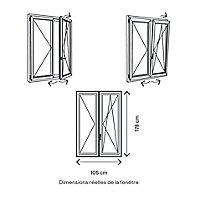 Fenêtre PVC 2 vantaux oscillo-battant GoodHome blanc - l.100 x h.175 cm