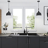 Fenêtre PVC 2 vantaux oscillo-battant GoodHome blanc - l.140 x h.95 cm